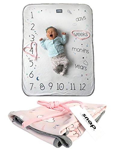 Snap the Moment BABY 100% Baumwolle Foto Decke mit antibakteriellem Silber Ionen, Dusty Pink für Mädchen, 80x 100cm, tolles Geschenk für Baby-Dusche