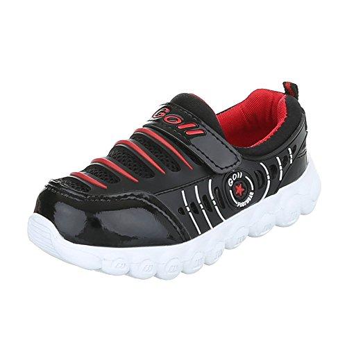 Freizeit Turnschuhe/Sneakers Kinderschuhe Low-Top Jungen Klettverschluss Ital-Design Freizeitschuhe Schwarz Rot