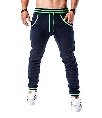 BetterStylz Logan Trainingshose Sweatpants Jogger Fitness, Jogginghose 5 Farben (S, M, L, XL, XXL) (M, Dunkel Blau Lime) (Air Force Trainingshose)