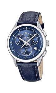 Lotus 15848/6 - Reloj cronógrafo de cuarzo para hombre, correa de cuero color azul (cronómetro, agujas luminiscentes)