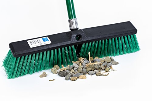 "TDBS The Dustpan and Brush Store Stiff Outdoor Yard Sweeping Brush Heavy Duty Garden Broom Sweeper Hard Firm Bristles with Strong Metal Handle 18"" Wide Head"