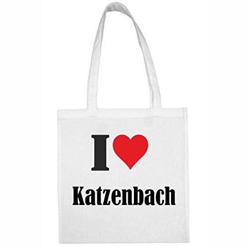 Tasche I Love Katzenbach Größe 38x42 Farbe Weiss Druck Schwarz