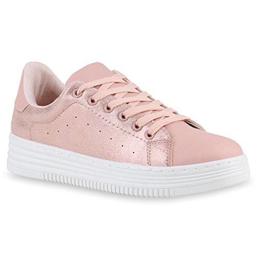 Lederoptik Schnürer Sneakers Rosa Schuhe Basic Sportschuhe Damen Agueda WOqwPx7P