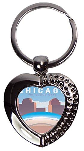 Schlüsselanhänger Reisen Küche Chicago USA Herz Bedruckt Chicago Küche