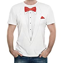 Big Red Egg New - Tuxedo With Red Bow Tie - Men's White T-Shirt - Gift Present - Fancy Dress - Xmas Birthday
