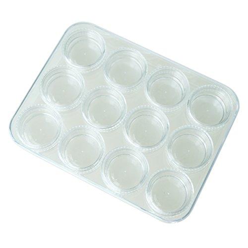SODIAL(R) Boite de 12 pots de stockage pour les gemmes de perles d'ongles cosmetiques