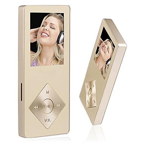 Peficecy Metall MP3-Player, 8GB Hi-Fi Sound 30 Stunden Playback Musik-Player, Eingebaute Lautsprecher, Support Expandable bis zu 32 GB