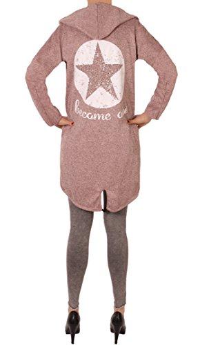 Fashion You Want Damen Cardigan Größe 38/40-48/50 verfügbar Sterne Star Sweatjacke Bolero Strickjacke Become a Star (48/50, Stern rosa)