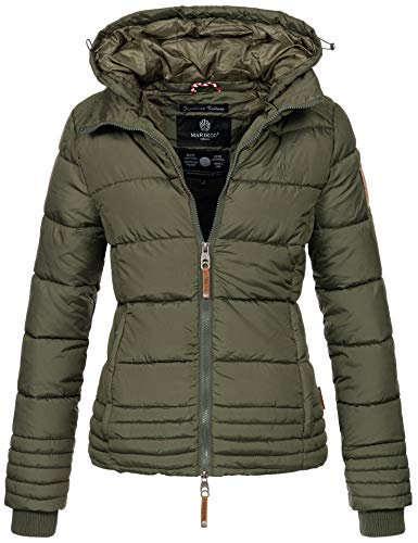Marikoo Designer Damen Winter Jacke Steppjacke Winterjacke Stepp gesteppt B668 [B668-Sol-Forest-Green-Gr.L]