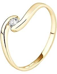 & You Damen -  18-k-(750)  Gelbgold Rund   Weiß/Wesselton (H) Diamant