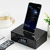 Numérique NFC Bluetooth Haut-Parleur Double Réveil FM Radio Chargement USB Fonction De Snooze Type-C Dock Station pour Iphone 4 5 5S 6 Ipad Mini Ipod Samsung S3 S4 S5,Noir
