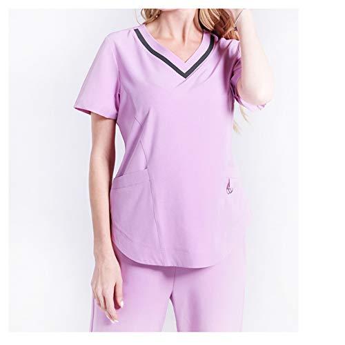 Set Krankenschwestern Scrubs Uniform (CX ECO Medizinische Uniform Krankenschwester Peelings Set Frauen V-Ausschnitt mit kurzen Ärmeln Mehrere Taschen Atmungsaktiv Anti-Falten Medical Scrub Top Hosen,Pink,XXL)
