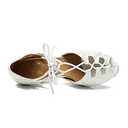 Scarpe da donna PU Danza Suola morbida Sala da ballo moderna Pompe latine Taglia 36To41 white 8.5cm heel