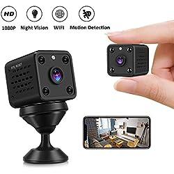 Cámaras Espía - CUSFLYX 1080P WIFI Full HD Mini Cámara Vigilancia Niñera Mascotas Deportes Garaje Auto IR Visión Nocturna Gran Angular de 150º Detección de Movimiento Video Remoto para Android y IOS