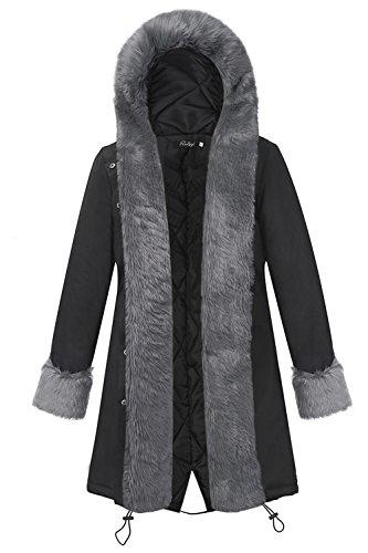 Le Donne Di Finto Pelo Gli Incappucciati Giacca Cappotto Caldo D'inverno Black