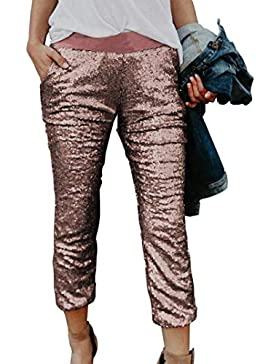 Pantalone Donna Primaverile Autunno Paillettes Brillantini Leggings Elegante Moda Casuali Costume Festivo Pants...