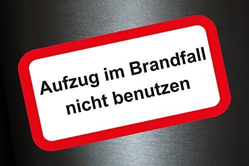 Preisvergleich Produktbild 2 x Aufkleber Aufzug im Brandfall nicht benutzen Lift Fire Feuer Stopp Sticker