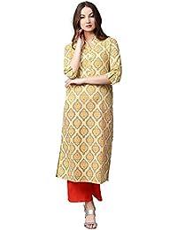 Jaipur Kurti Women Yellow & Orange Printed Cotton Kurta With Palazzos