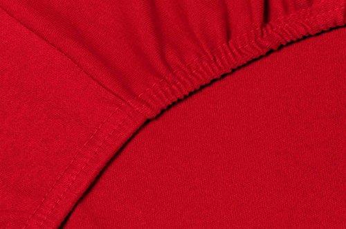 Double Jersey - Spannbettlaken 100% Baumwolle Jersey-Stretch bettlaken, Ultra Weich und Bügelfrei mit bis zu 30cm Stehghöhe, 160x200x30 Rot - 5