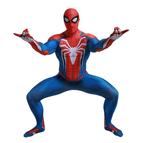 Anpassen Spandex Kostüm - Alaeo Herren Spider-Man Cosplay Kostüm Body Spandex Overalls Kostüm für Erwachsene Kostüm Movie Game Rollenspiele Kleidung Spielanzüge,Blau,XS