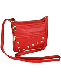 Leather Land Women Evening/Party, Casual Red Leatherette Sling Bag