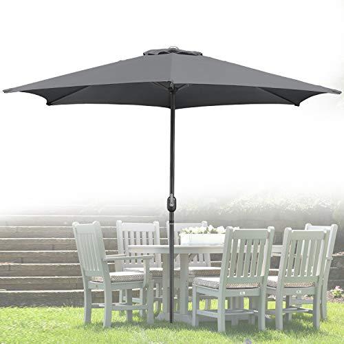 Wolketon Für Garten, Terrasse, Loggia, Balkon, Camping-Platz, Pool, Planschbecken 3.0m Grau Sonnenschirm Garten Schirm Marktschirm Ampelschirm Kurbel Schirm