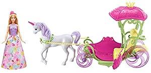 Barbie Dreamtopia, carroza Reino de Chuches con muñeca y unicornio (Mattel DYX31)