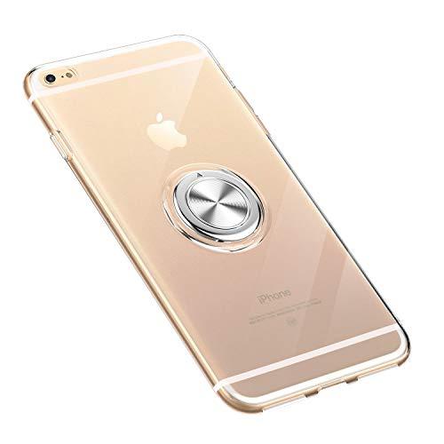 iPhone 6 6S Hülle Handyhülle, Ultra Dünn Transparente TPU Silikon Bumper Soft Case mit 360 Grad Ring Stand Magnetische Autohalterung Schutzhülle (iPhone 6 / 6S, Klar) Klare Schutzhülle