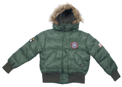 Kinder US N2B Polarjacke Jacke mit Fellkragen schwarz S-XXL (122-176) 158/164,Schwarz