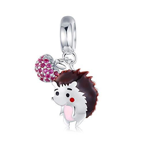 KFYU Charms925 lose Perlen süße Tierperlen Sammlung Perlen Armband Silber Schmuckzubehör Igel Frucht 925 Silber (Igel Ein Knuckles Ist)