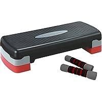 SportPlus Plataforma aeróbica Step Incl. 2X Mancuernas Suaves de 1 kg, Regulable en Altura, Peso máx. de Usuario de hasta 120 kg SP-ASP-001