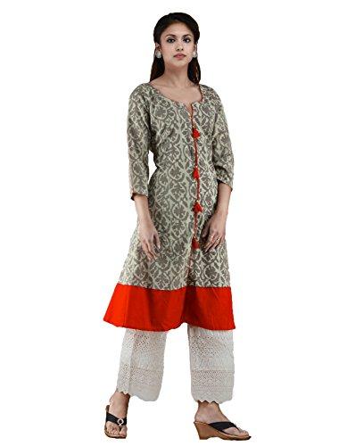 Unnati Silks Women Sloka Weaves Grey-orange Pure Jaipuri Printed Cotton Kurta With Tassels