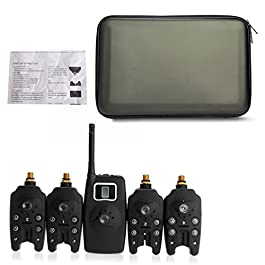 NoyoKere Alarme de pêche LED sans fil numérique Set 4 Alarme de morsure de pêche + 1 récepteur dans l'alerte de pêche carpe Black