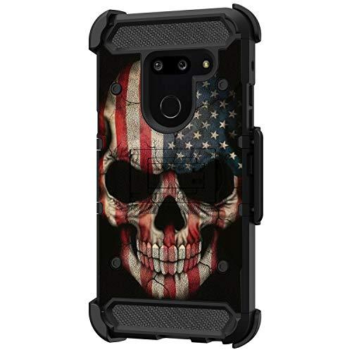 TurtleArmor Schutzhülle für LG G8 / LG G8 / ThinQ Hülle - G820 [Armor Pro] Vollkörperschutz Armor Hybrid Kickstand Robuste Schutzhülle Gürtelclip Tasche -, US Flag Skull (Android Phones Cricket Cell)