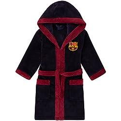 FC Barcelona Officiel - Robe de Chambre à Capuche thème Football - Polaire - garçon - Bleu Marine - 13-14 Ans