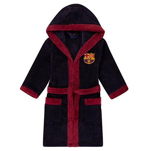 FC Barcelona - Robe de chambre à capuche thème football - polaire - garçon - bleu marine - 11-12 ans