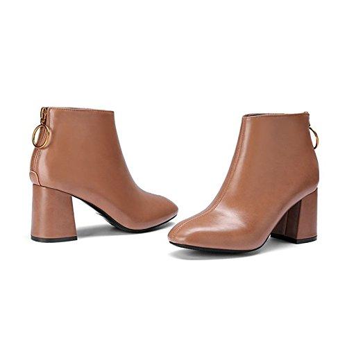 Scarpe donna pu molla Comfort di caduta di scarponi per Outdoor beige marrone nero,marrone,US5.5 / EU36 / UK3.5 / CN35 Brown