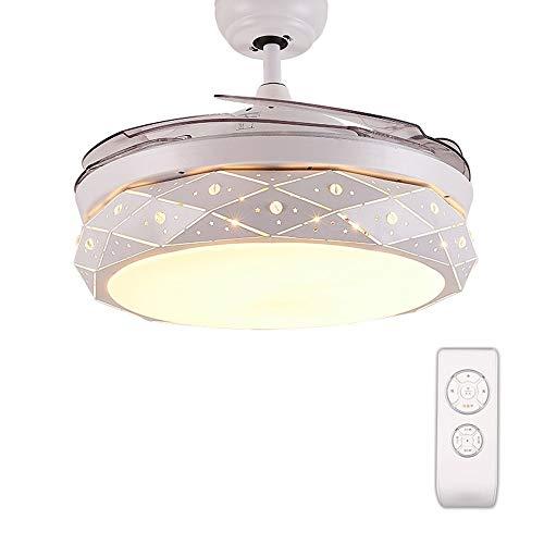 YZPFSD Nordic Moderne versenkbare Kronleuchter Fan for Indoor Dining Schlafzimmer Wohnzimmer Halle, LED 3 Farbwechsel-White Warm Neutral Deckenventilator Licht mit Fernbedienung, weiß 42 Zoll