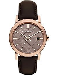 BURBERRY BU9013 - Reloj para hombres, correa de cuero color marrón