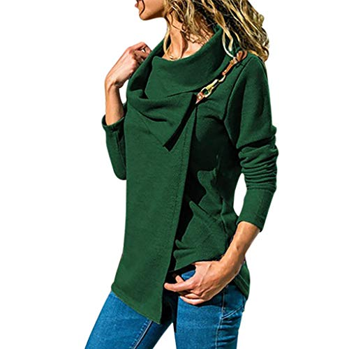 s Herbst Solide Tunika Mode Sexy Oberteile Revers Cortex Blousen Irregular Kleidung Frauen Drucken Lange Ärmel T-Shirt mit Metallschnalle Elegant Party-Shirts ()