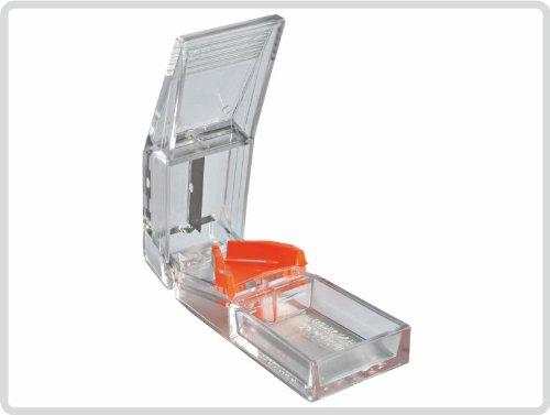 Tablettenzerteiler fester Kunststoff transparent/orange - Tabletten zerteiler Pillenzerteiler Pillenteiler