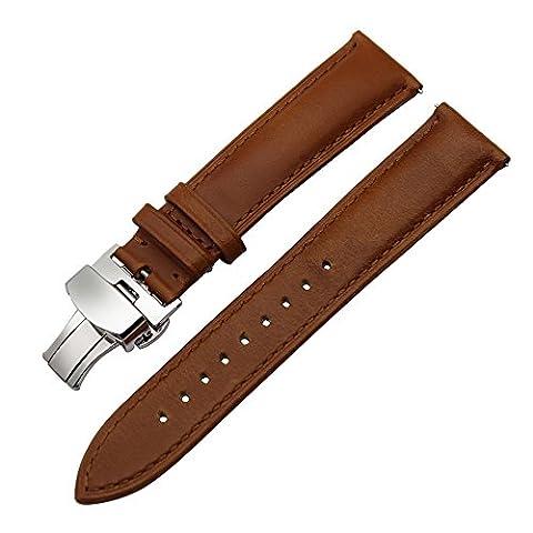 TRUMiRR 20mm Quick Release Bracelet en cuir véritable Bracelet à boucle papillon pour Samsung Gear S2 Classic (SM-R732 / R735), Huawei Montre 2 (Sport), Moto 360 2 42mm Hommes, Pebble Time Round 20mm