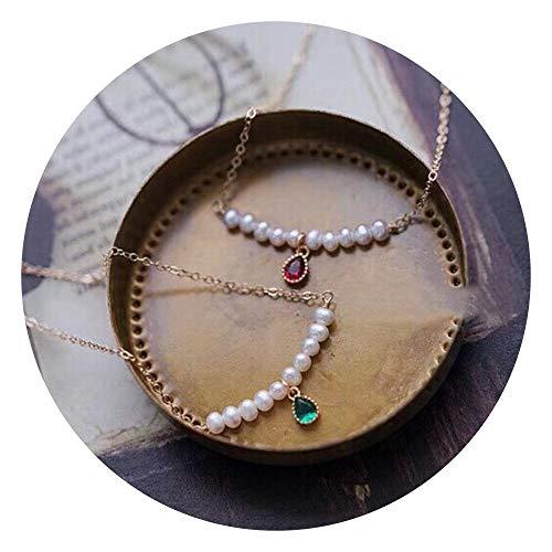 Lnyy Perle Halskette Antik Vintage Emerald Ruby Süßwasser Perlenkette