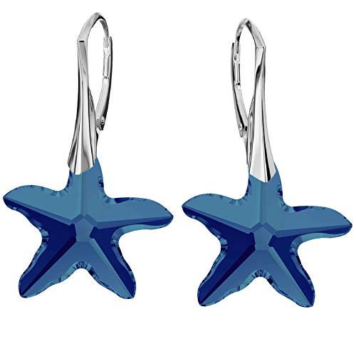 **Beforya Paris** - Patrick Seestern - Ohrringe - Farben Varianten !! - Stern Silber 925 Schön Damen Ohrringe mit Kristallen von Swarovski - Wunderbare Ohrringe mit Geschenkbox PIN/75 (Bermuda Blue)