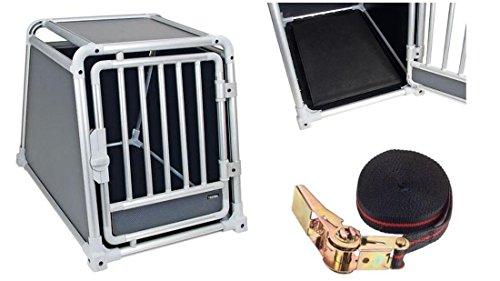 Alu - Transportbox 77 x 55 x 60 cm für Hunde mit Ratschenzurrgurt 5 m / 25 mm Autobox