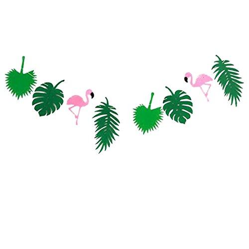 (Hacoly Flamingo Wimpel Hochzeit Palmblatt Stoffgirlande Wimpelkette Bunting Farbenfroh Filz Wimpeln für Kinderzimmer & Baby Geburtstage Hochzeit Dekoration Dreieck Flagge - Grün)