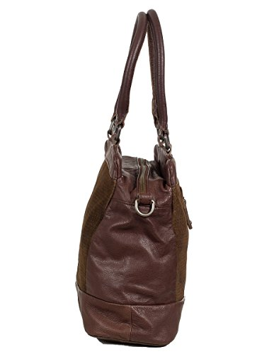 FREDsBRUDER triangle sac à main cuir vachette et velours ciré - (34x29x13cm) Marron (Cognac)