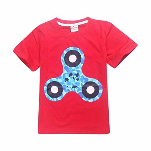 Baby T-Shirts,Chshe Hand Spinner Kurzarm O-Hals Baumwoll - Mischung Junge T-Shirt Kinder Drucken Kleidung (120, Rot) (Spinner Drucken)
