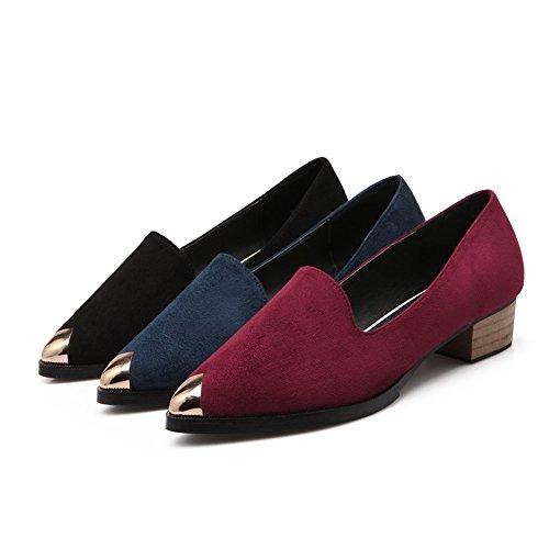 Welldone2018 Femme Mode Chaussures Ballerines Pointues Mocassins Métalliques Chaussure Talon Western Élégante Noir