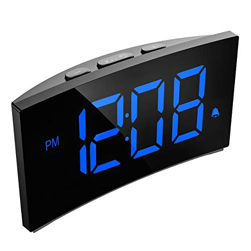 Holife Sveglia Digitale, Sveglia da Comodino, 5.5 Pollici Sveglia con Grande Schermo Curvo e Senza Bordi, Sistema a 12 Ore o 24 Ore, Funzione di Snooze, Blu (Adattatore Non Incluso)
